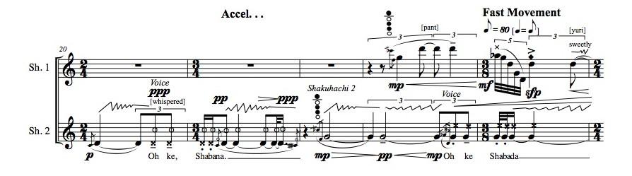 Bruce Crossman, Spirit Presence (2 shakuhachi), bars 20-24