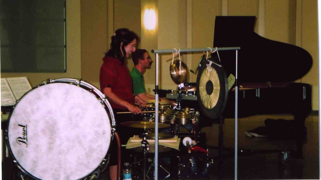 Rehearsal: Lynn Varton (percussion) and Danny Holt (piano), Chapman University, Orange County