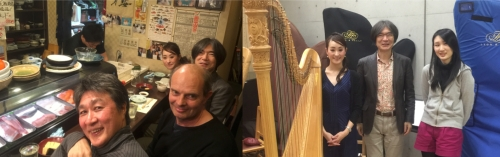 Yukiko Hirao, Akira Kobayashi, Bruce Crossman and Tomoyuki Hisatome—relaxing and discussing traditional Japanese music influences in composition at a Sushi bar in Nagoya and the rehearsal at Aichi University of the Arts, in Nagoya.