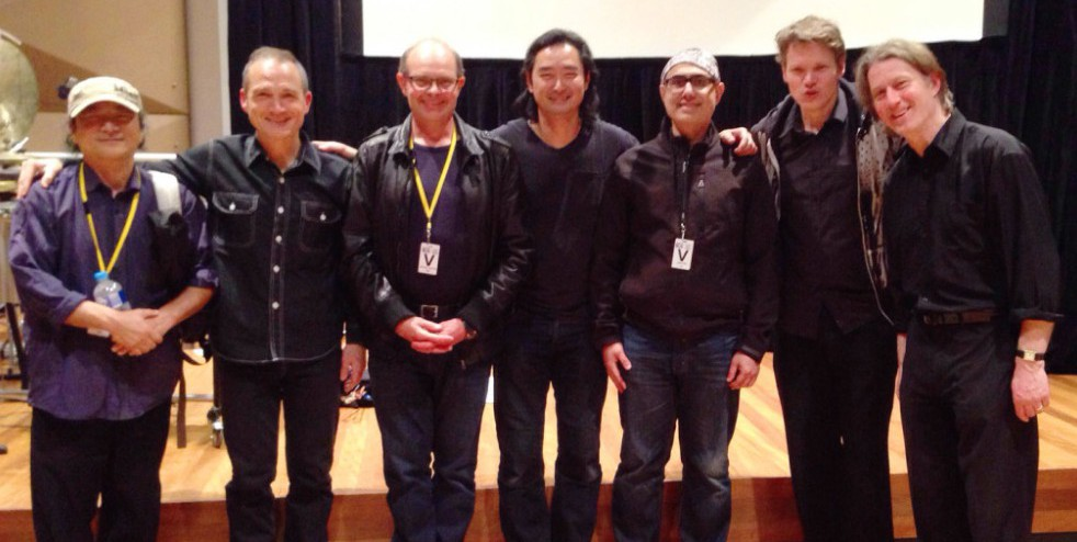 WASJ Team: Luping Zeng (artist), Michael Kieran Harvey (pianist), Bruce Crossman (composer), Vincent Tay (cinematographer), Iqbal Barkat (film director/live projectionist), Tristram Williams (trumpet) and Peter Neville (percussion)—Melbourne 26 September 2015, Iwaki Auditorium (©photo: Filigree Films)